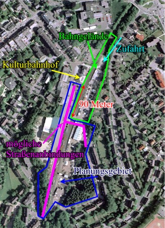Eine Gesamtübersicht (Luftbild) über die gesamte Bahnhofsanlage